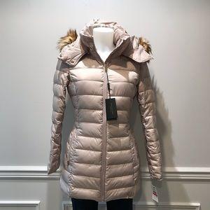 Andrew Marc faux fur trim tan puffer jacket
